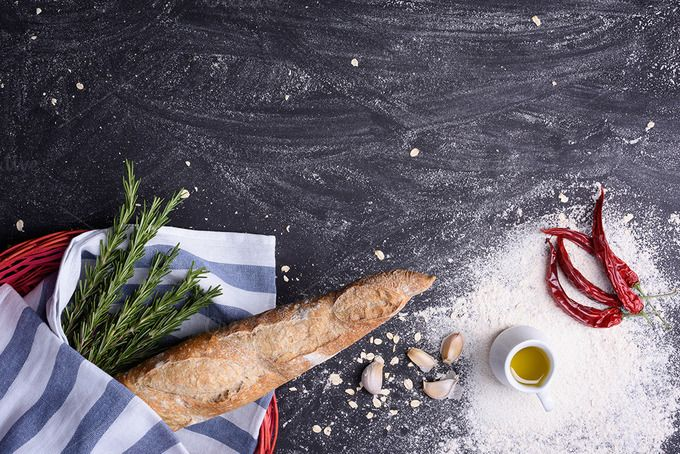 Baguette, chili and rosemary by Iuliia Leonova on @creativemarket