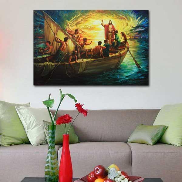Lukisan Kanvas Printing Tuhan Yesus Meredakan Badai