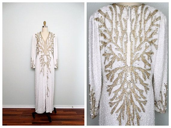 Gold & Silver Pearl Beaded Gown // White and Gold Beaded by braxae