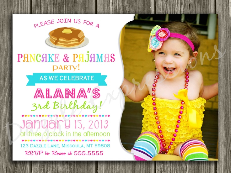 Pancake and Pajamas Birthday Invitation - FREE thank you card included. $15.00, via Etsy.