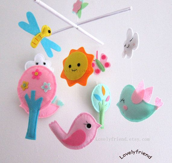 Smiling Birds in The Sky Baby Mobile Happy Cloud by lovelyfriend