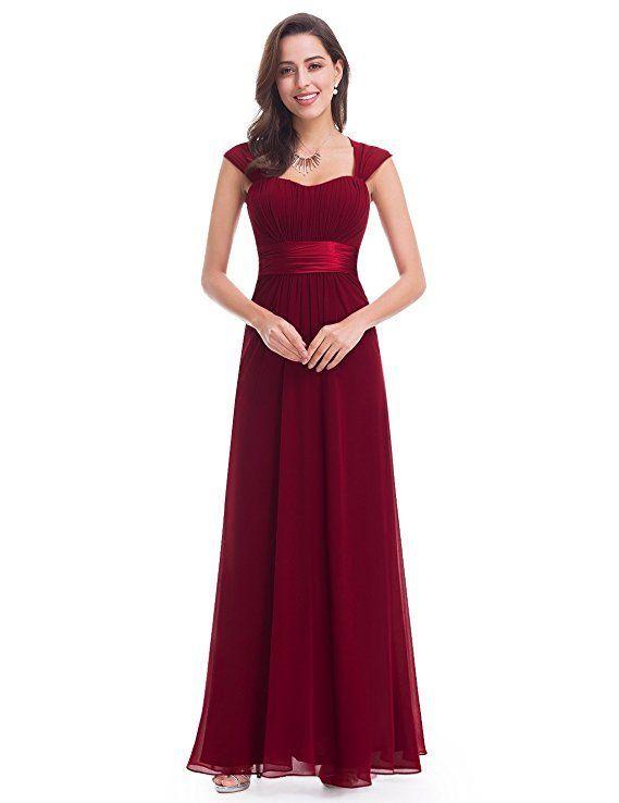 Traumhaftes Abendkleid In Bordeaux Rot Das Lange Chiffon Kleid Hat Einen Breiten Satin Gurtel Und Schone Trager Brautjungfern Kleider Party Kleider Abendkleid