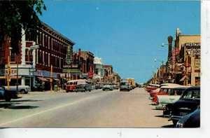 1950's CARS JUNCTION CITY KANSAS DOWNTOWN STREET SCENE VINTAGE POSTCARD STORES
