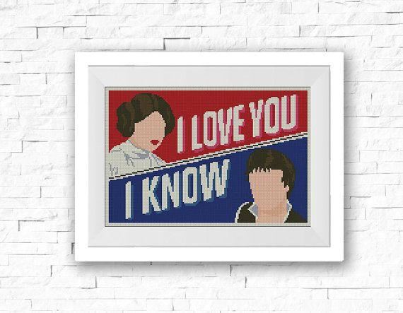 BOGO FREE I Love You I Know Star Wars Cross Stitch by StitchLine