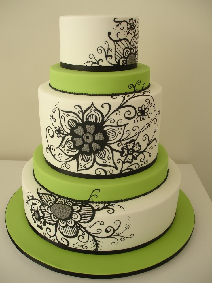 Cake Designs Green : 49 best images about Cakes - Green and White on Pinterest ...