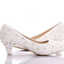 Love from www.the2020marriage.com  2015 Custom make large size small heel bridal wedding shoes white pearl Low heels shoes Celebrity Party Prom Dancing Shoes(China (Mainland))