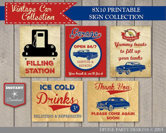 INSTANT DOWNLOAD Vintage Car Birthday Party Sign Package / Printable 8x10 / Vintage Car Collection / Item