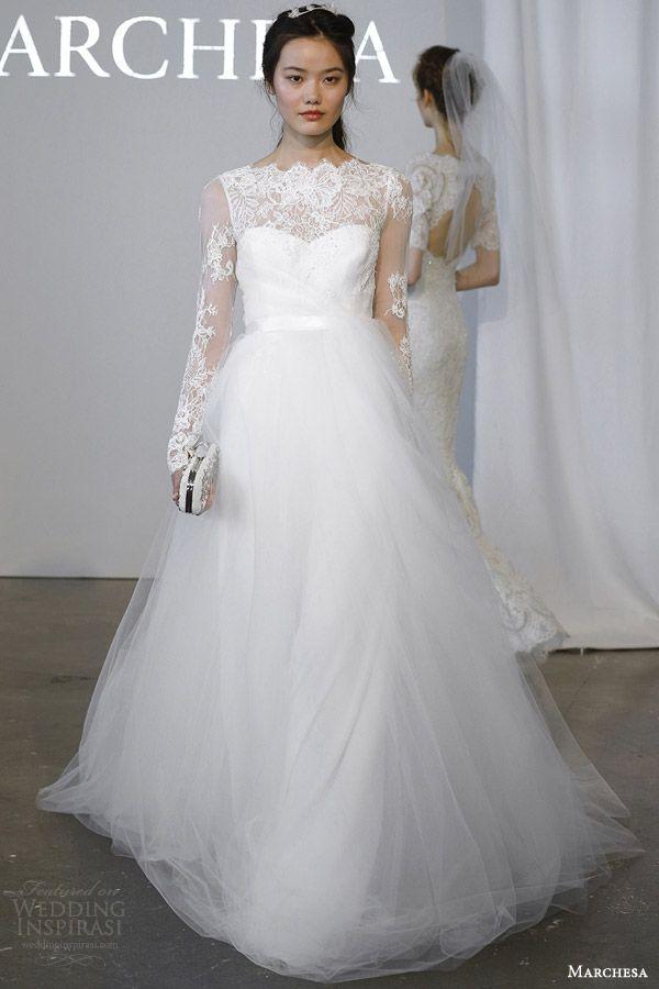 Marchesa #Bridal Spring 2015 #Wedding Dresses: illusion long sleeve #weddingDress #weddingGown http://www.weddinginspirasi.com/2014/12/29/marchesa-bridal-spring-2015-wedding-dresses/