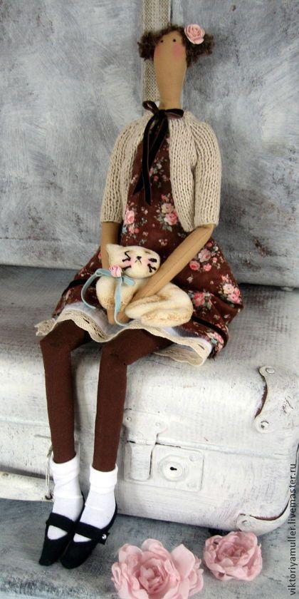 Tilda bonecas artesanais.  Mestres - Feira artesanal til artesanal boneca têxtil Eu e meu gato!.  Handmade.