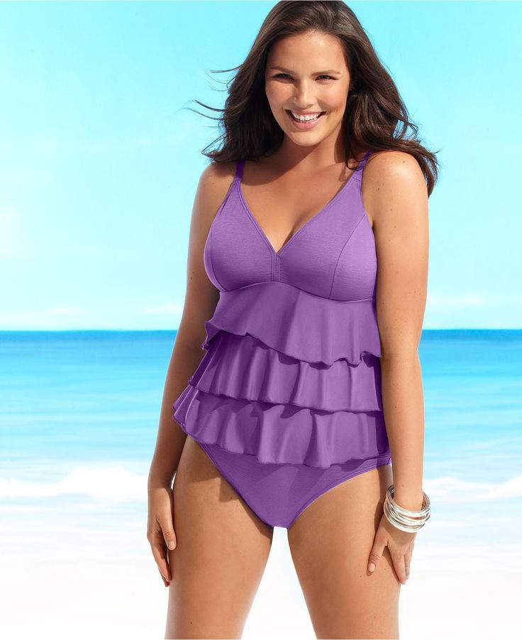 Fit 4 U Plus Size Swimsuit, Tiered Ruffle Tummy Control Tankini Set - Plus Size Swimwear - Plus Sizes - Macy's