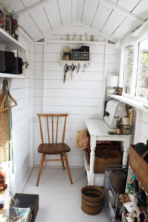 paint inside of shed white...............well mine's never going to look this tidy (would that it could!) but the light would reflect well.