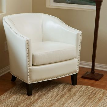 Aaron Ivory Bonded Leather Chair