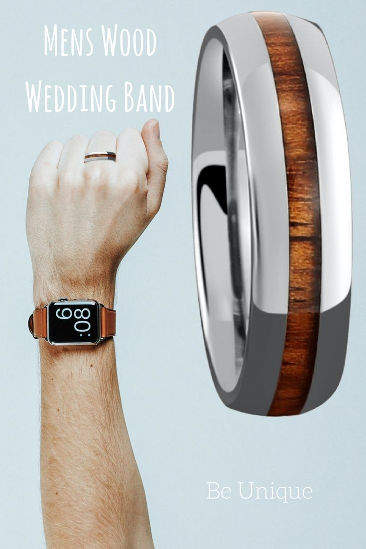 Mens Titanium Wood Wedding Band The First Outdoorsmen Wedding Band Made  With 100% Genuine