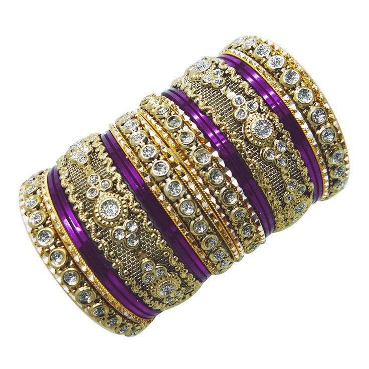 Indian Wedding Bangles | Indian Bollywood Purple Wedding Bangle Set Traditional Bridal Churi ...