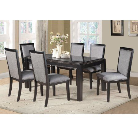 home source grey and black faux marble dining set table