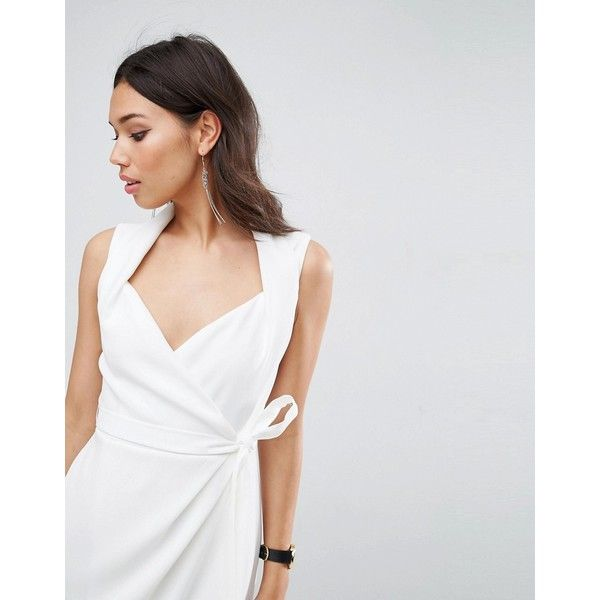 ASOS Shawl Collar Wrap Dress ($68) ❤ liked on Polyvore featuring dresses, white sleeveless dress, white prom dresses, asos dresses, sleeveless dress and going out dresses