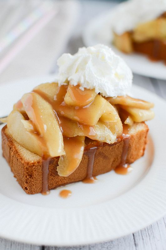 A fall twist on the summer favorite: Caramel Apple Shortcakes! Pound cake is topped with cooked apples, caramel sauce, and whipped cream!