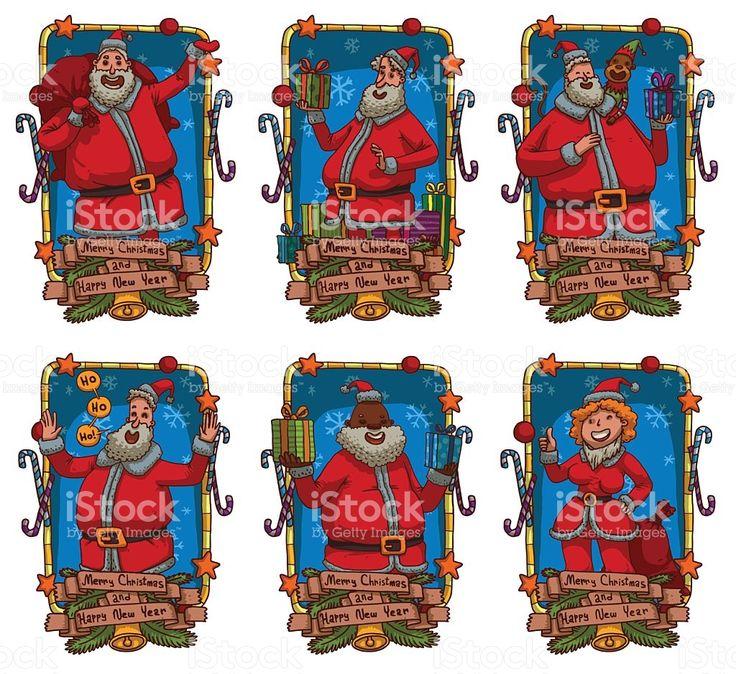 Conjunto de cartões de Natal com diferentes Santa cláusula vetor e ilustração royalty-free royalty-free