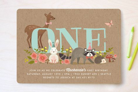Woodland Celebration Children's Birthday Party Invitations by Karidy Walker at minted.com