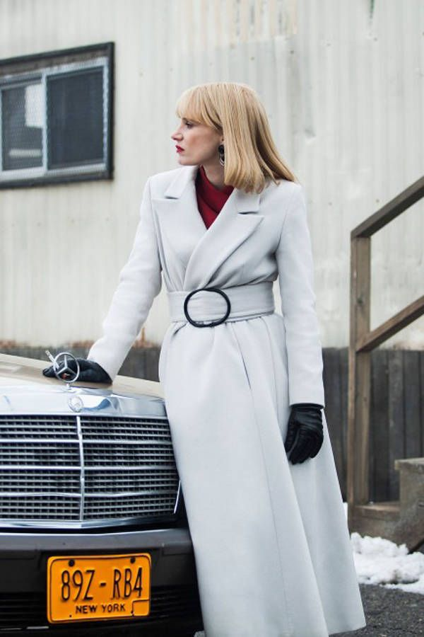 Giorgio Armani Dresses Jessica Chastain in 'A Most Violent Year' - Jessica Chastain 'A Most Violent Year' Movie - Harper's BAZAAR Magazine