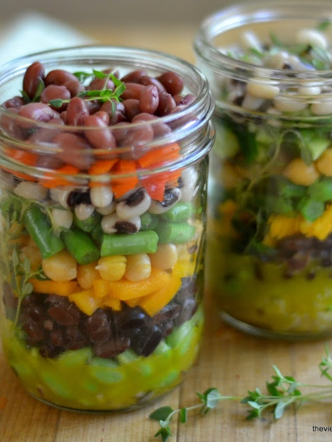 Minimal Monday Layered Bean Salad In A Jar!! Repin this for an awesome tasty salad! |theviewfromthegreatisland.blogspot