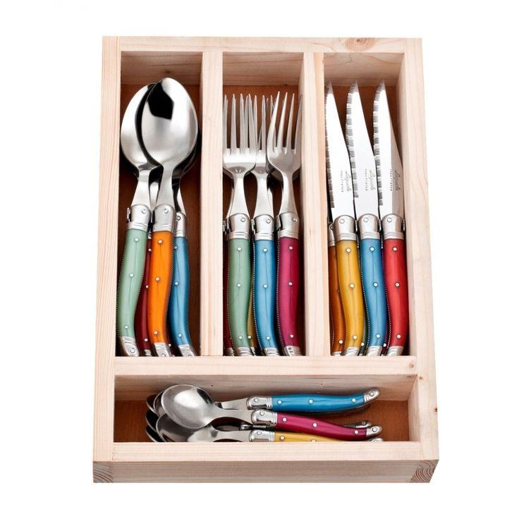 Laguiole Jean Neron Cutlery Set 24 Piece - Mixed Colour