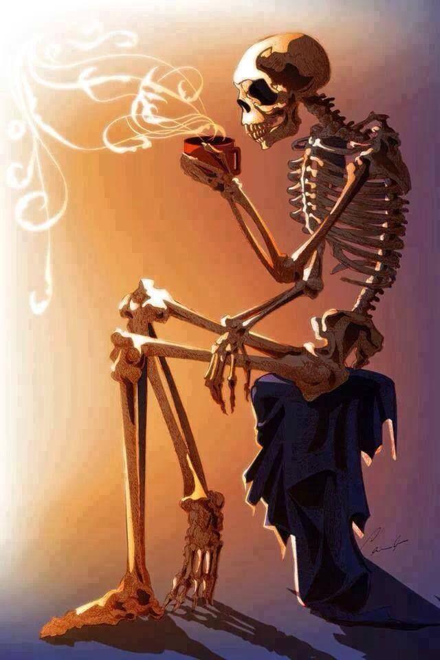 Coffee warms my bones..