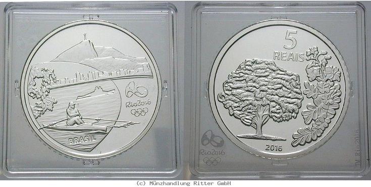 RITTER Brasilien, 5 Real 2016, Olympische Spiele Rio de Janeiro 2016, Ruderer,PP #coins #numismatics