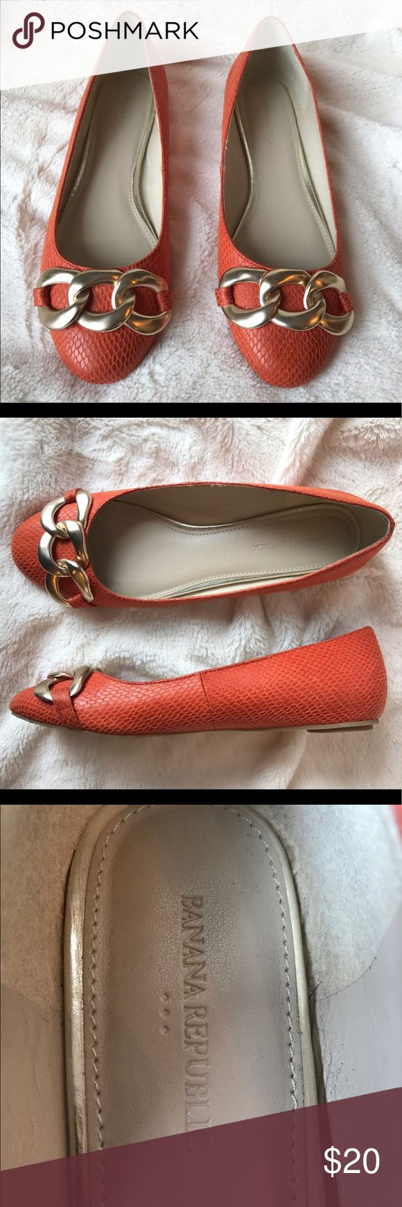 Banana Republic Orange Snake Gold Buckle Flats Banana Republic orange snake skin print flats with large gold buckle. Worn once, no marks or scuffs. In perfect condition! Banana Republic Shoes Flats & Loafers