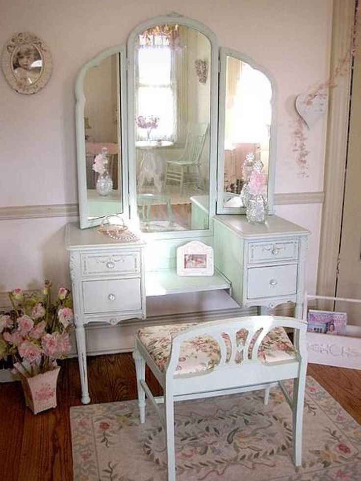 simple white antique vanity table design with reclining