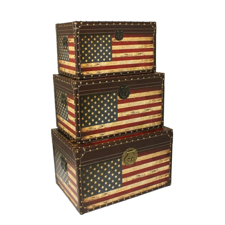 Antique American Flag Decorative Trunk Cases and Storage Accent Decor | Overstock.com Shopping - The Best Deals on Decorative Trunks