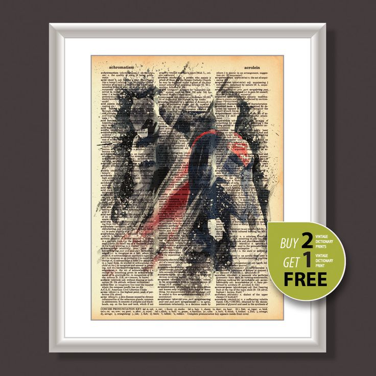 Vintage dictionary print, Vintage art print, Batman and Superman movie poster, Batman print, Superman print, Superhero poster, wall art,3602 by Uniquedrawing on Etsy https://www.etsy.com/listing/259663887/vintage-dictionary-print-vintage-art
