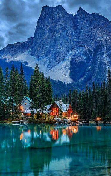 Brown wood lake house, Canada