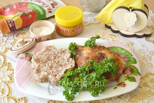 Фото жареной курицы на сковороде