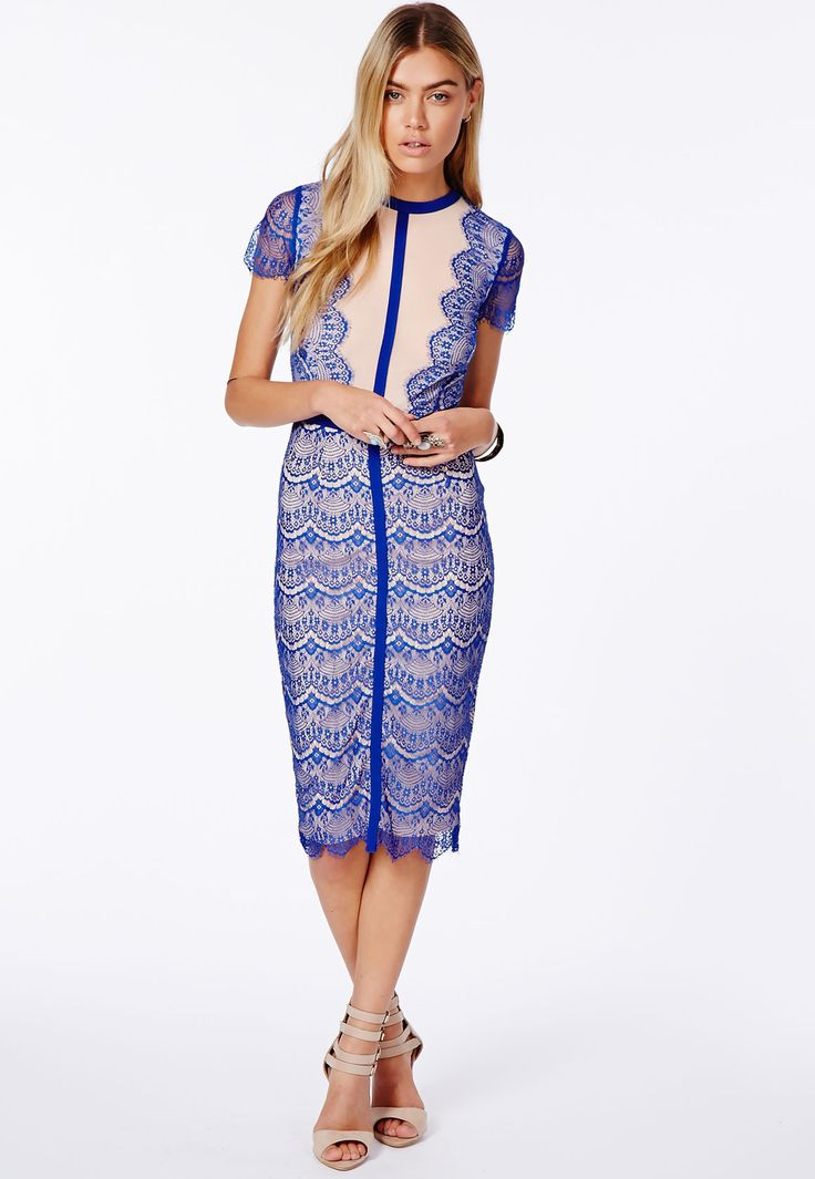 Missguided Midi Dress | buy it here: http://rstyle.me/~2mZT5Missguided, Midi Dresses, Parties Dresses, Cobalt Blue, Blue Lace, Panels Midi, Satsuko Lace, Lace Dresses, Lace Panels