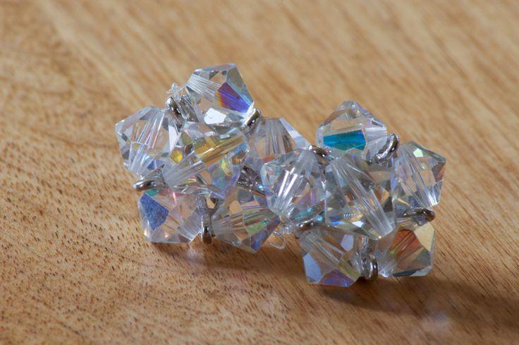 Vintage Crystal Star Cluster Screw Back Earrings by flatlandfinery on Etsy