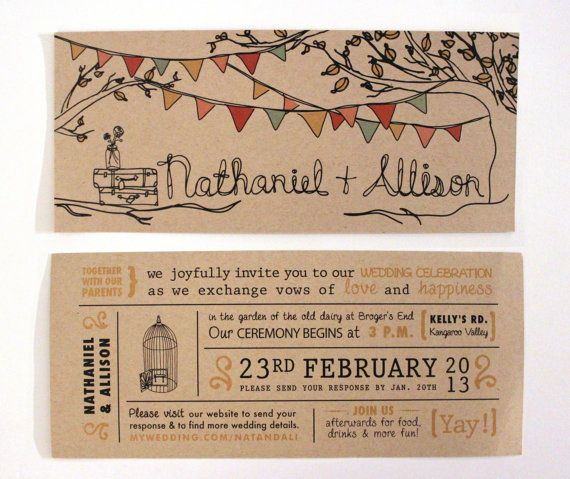 Rustic Kraft Wedding Invitation With Tree, Pennant Flags & Mason Jar Illustrations by That Noise Gallery
