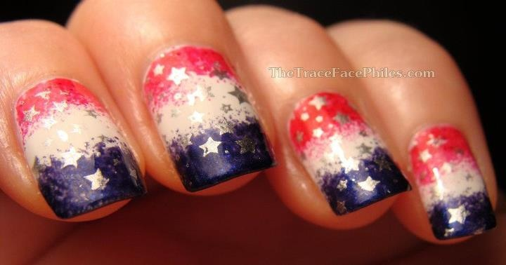 patriotic red, white and blue mani