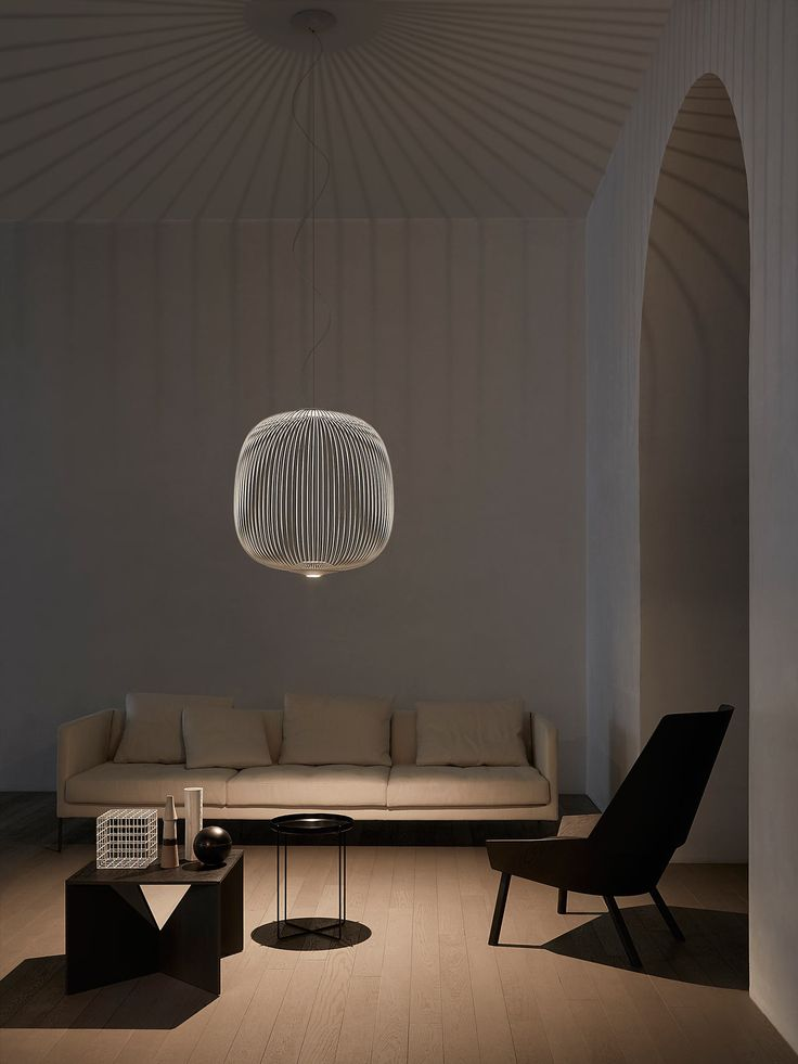 hanging lantern-style lights inspired by bicycle spokes