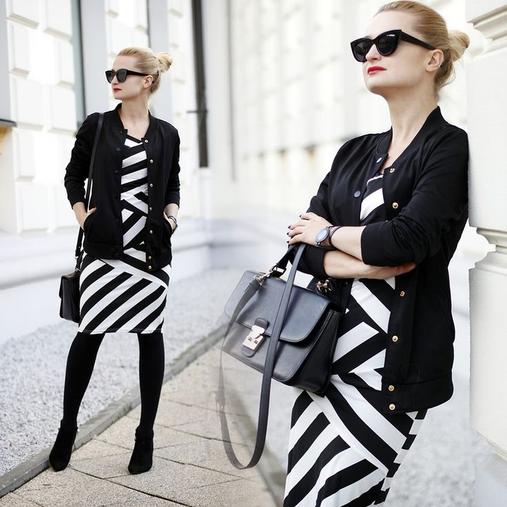 Daria Darenia - Asos Cat Eye Glasses, Bomber Jacket, Cndirect Zigzag Dress, Barada Bag - ZIG ZAG DRESS