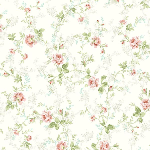 brewster home fashions willow cottage floral trail wallpaper in pink - Flower Wallpaper For Home