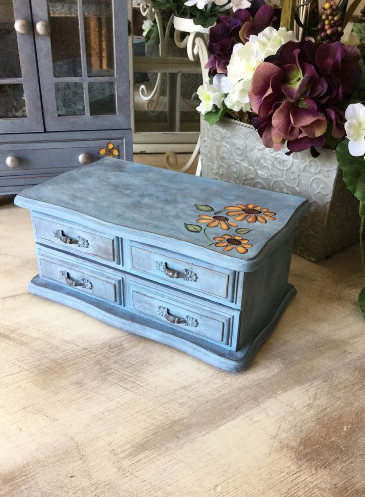 Wooden Upcycled Jewelry Box // Vintage Hand Painted Jewelry Chest by ByeByBirdieDesigns on Etsy https://www.etsy.com/listing/271586966/wooden-upcycled-jewelry-box-vintage-hand