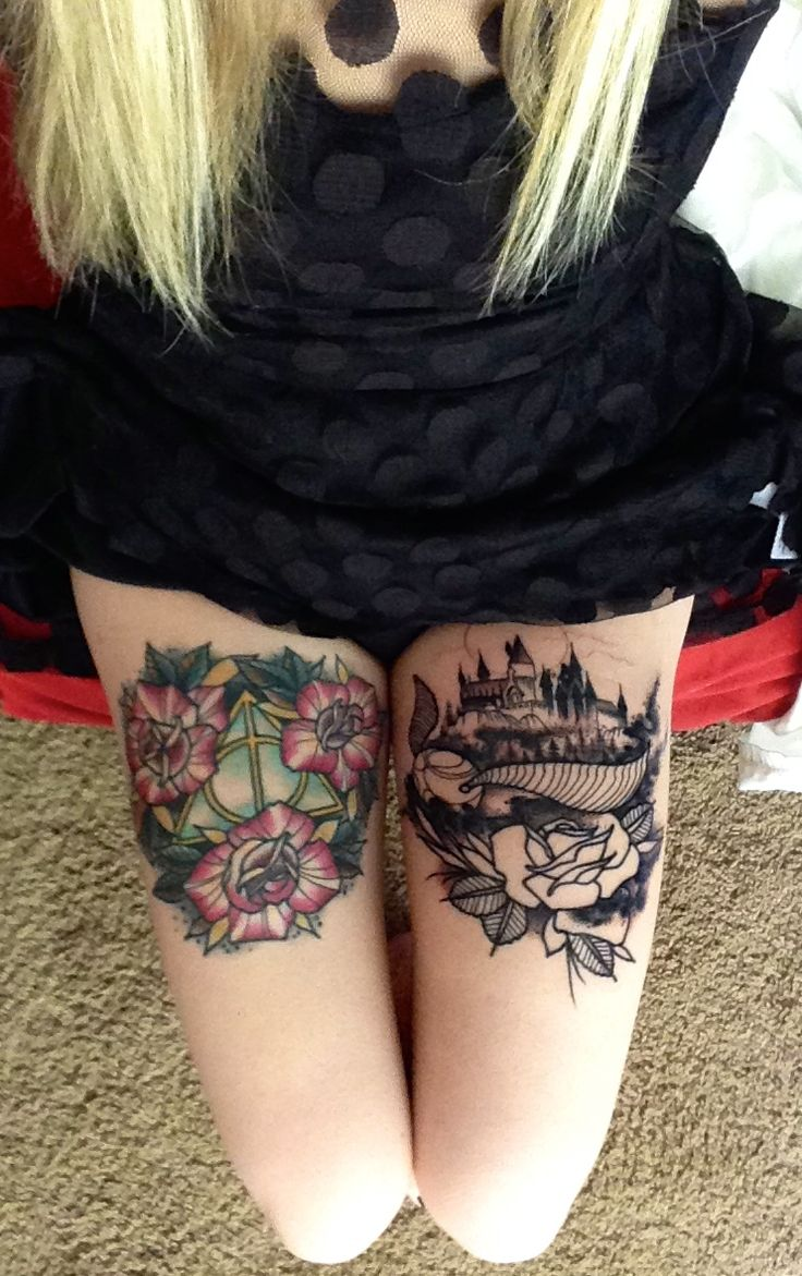 Deathly hallows and golden snitch hogwarts thigh pieces for Tattoo expo san diego
