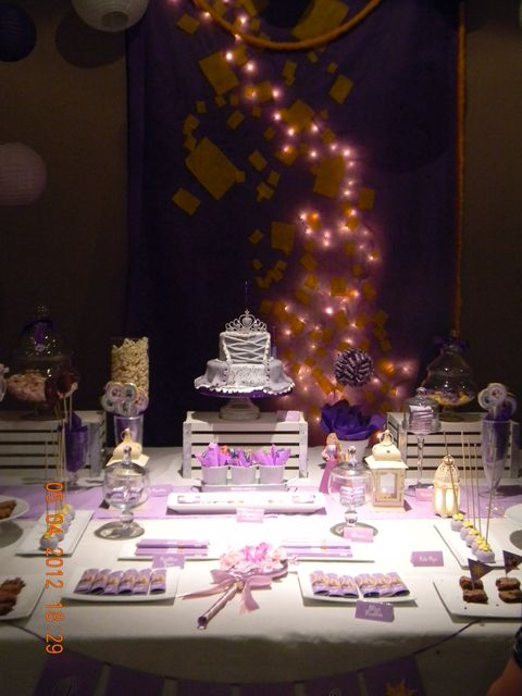 Tangled Princess Party decor. Love the lights in the background! So dreamy!