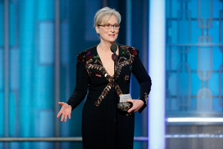 Ms. Streep was presented with the Cecil B. DeMille Award for lifetime achievement at the 2017 Golden Globes; Ms. Davis introduced her.