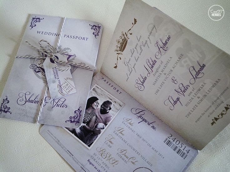 Shalin & Victor's passport wedding invitations. www.creativeheroes.co.za
