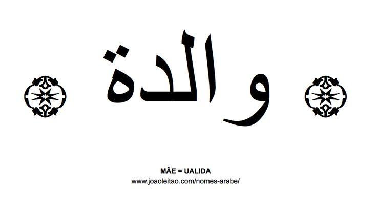 Palavra MÃE escrita em árabe, UALIDA - والدة
