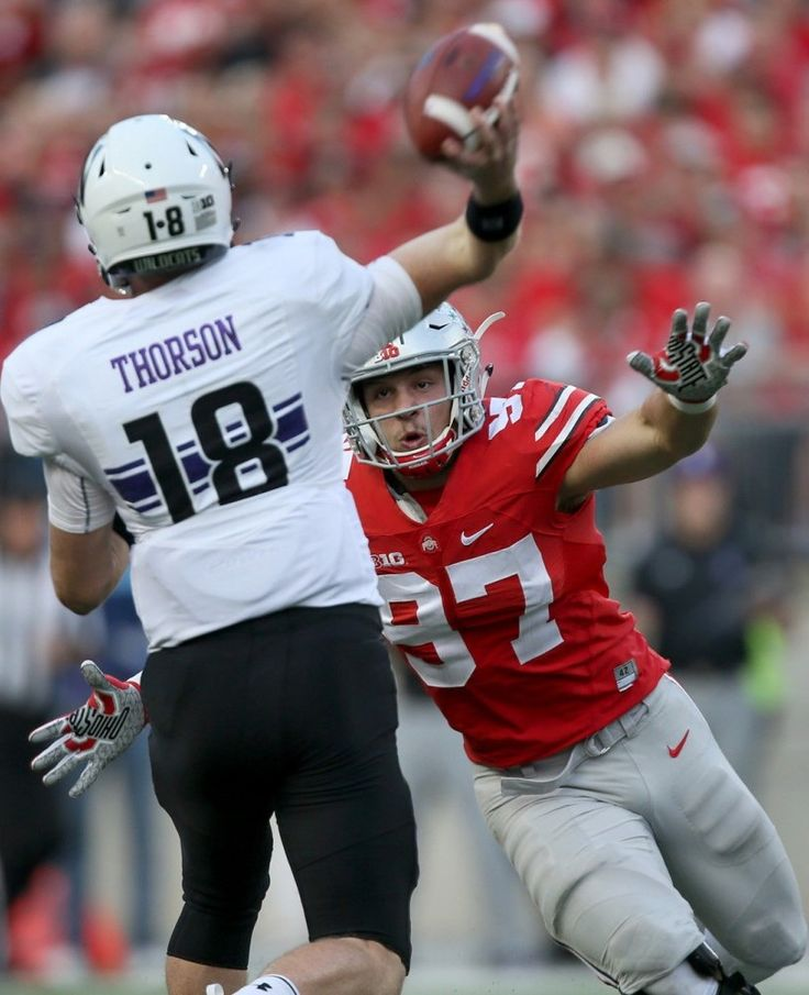 Ohio State Buckeyes defensive end Nick Bosa (97) pressures Northwestern Wildcats quarterback Clayton Thorson (18) in the third quarter,