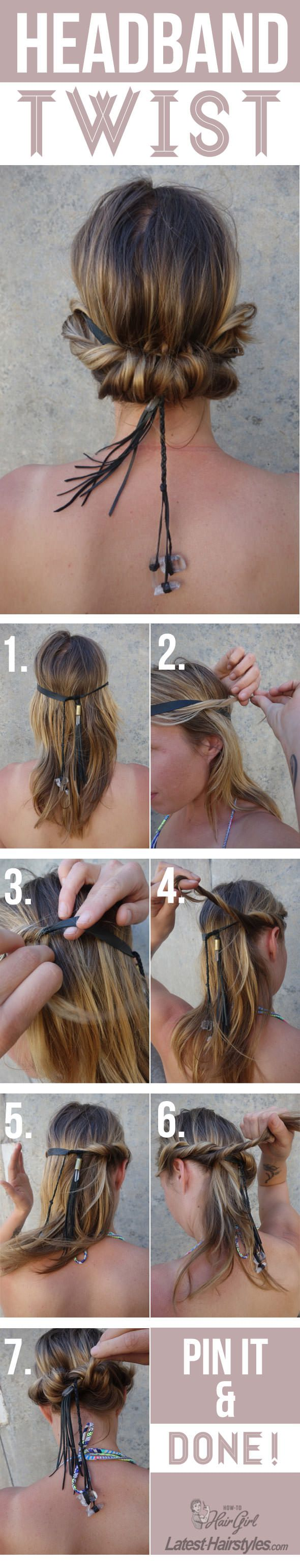 The PERFECT hair look for summer! Full tutorial with tips here: http://www.latest-hairstyles.com/tutorials/headband-twist.html