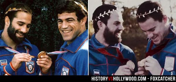 Brothers and wrestlers Dave Schultz and Mark Schultz, portrayed by Mark Ruffalo and Channing Tatum in the Foxcatcher movie. See more side-by-side pics at http://www.historyvshollywood.com/reelfaces/foxcatcher/